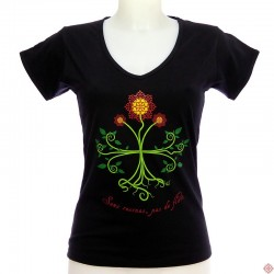 T-shirt femme en occitan Sans racines pas de fleurs