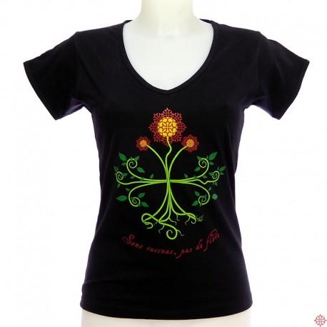 T-shirt femme Occitan Sans racines pas de fleurs