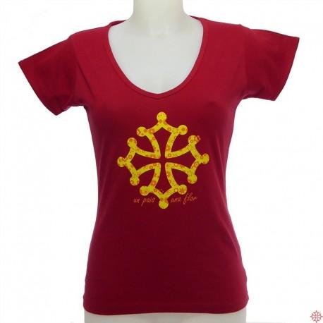 T-shirt femme croix occitane nadau Un país una flor occitanie