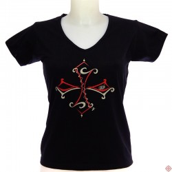 T-shirt Femme croix occitane tribale noir