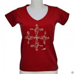T-shirt Femme croix occitane tribale rouge
