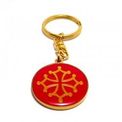 Porte-clefs métal rond croix occitane