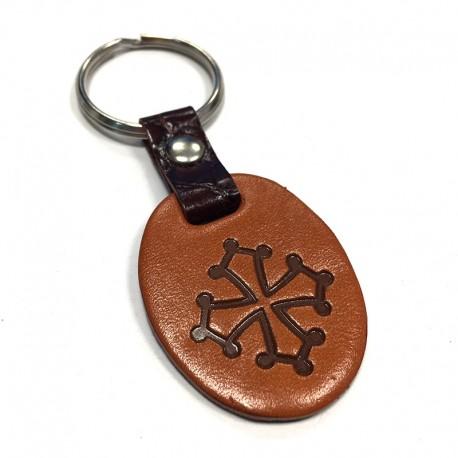 Porte-clefs croix occitane en cuir