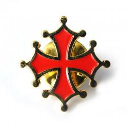 Pin's Occitanie sang et or croix occitane