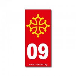 Autocollant 09 rouge pour plaque d'immatriculation