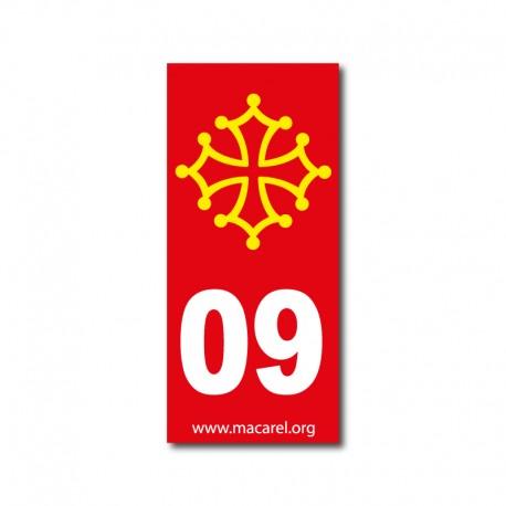 Autocollant 09 ariège rouge pour plaque d'immatriculation croix occitane - occitanie