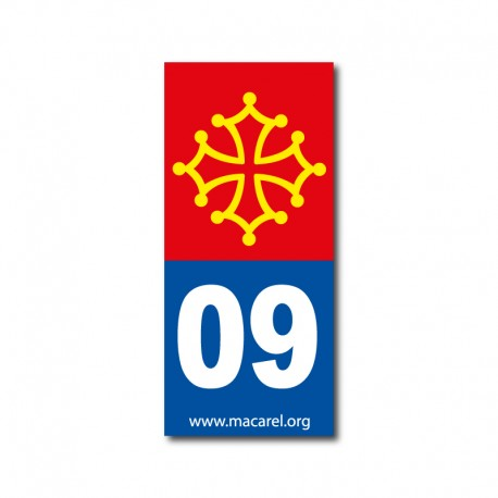 Autocollant 09 bleu pour plaque d'immatriculation