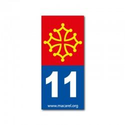 Autocollant 11 bleu pour plaque d'immatriculation