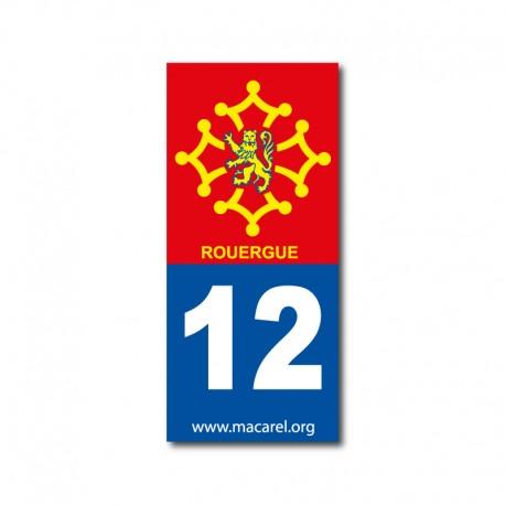 Autocollant 12 Rouergue pour plaque d'immatriculation