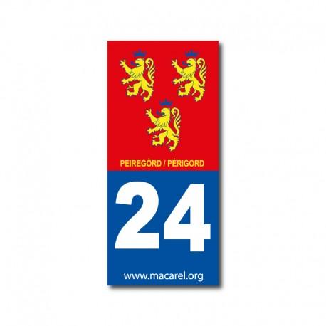 Autocollant 24 Périgord pour plaque d'immatriculation