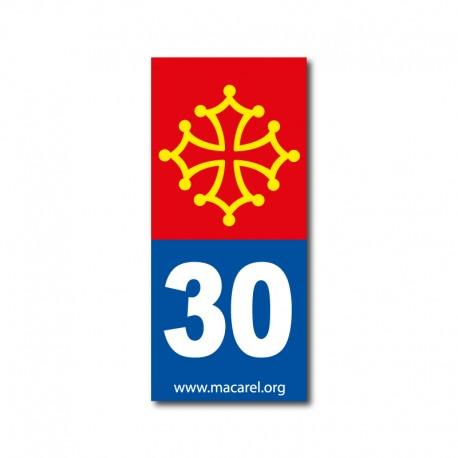Autocollant 30 bleu pour plaque d'immatriculation