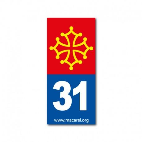 Autocollant 31 bleu pour plaque d'immatriculation