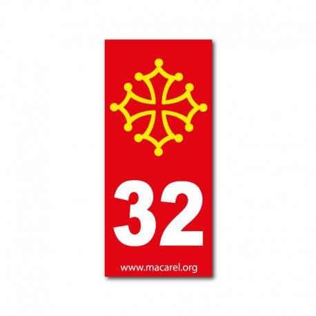 Autocollant 32 rouge pour plaque d'immatriculation