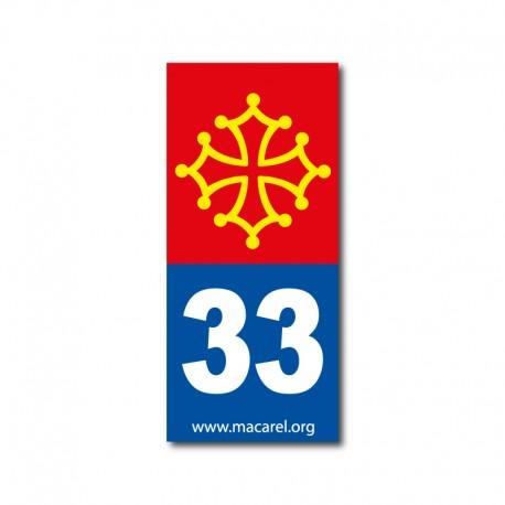 Autocollant 33 bleu pour plaque d'immatriculation