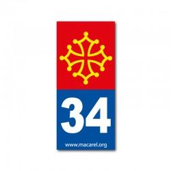 Autocollant 34 bleu pour plaque d'immatriculation