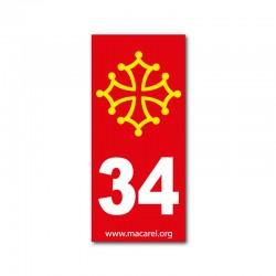 Autocollant 34 rouge pour plaque d'immatriculation
