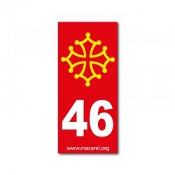 Autocollant 46 rouge pour plaque d'immatriculation
