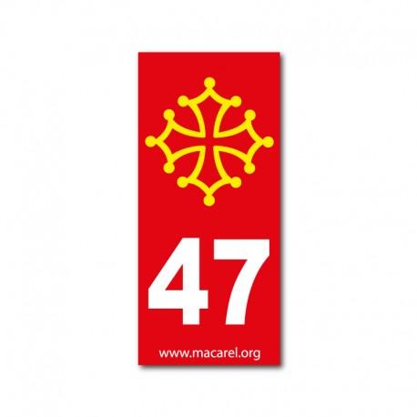 Autocollant 47 rouge pour plaque d'immatriculation