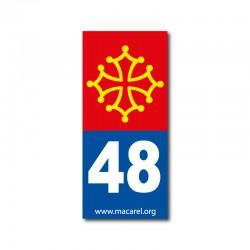Autocollant 48 bleu pour plaque d'immatriculation