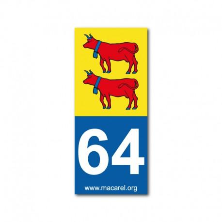 Autocollant 64 Bearn pour plaque d'immatriculation