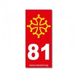 Autocollant 81 rouge pour plaque d'immatriculation
