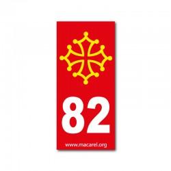 Autocollant 82 rouge pour plaque d'immatriculation