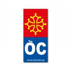 Autocollant OC bleu pour plaque d'immatriculation