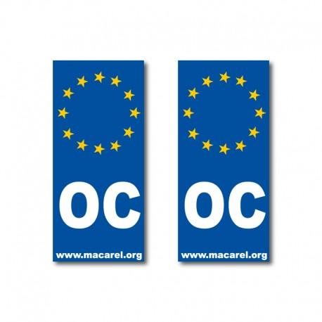 Autocollant OC Europe pour plaque d'immatriculation (x2)