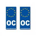 Autocollant OC Europe pour plaque d'immatriculation x2