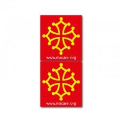 Autocollant Croix occitane pour plaque d'immatriculation x2