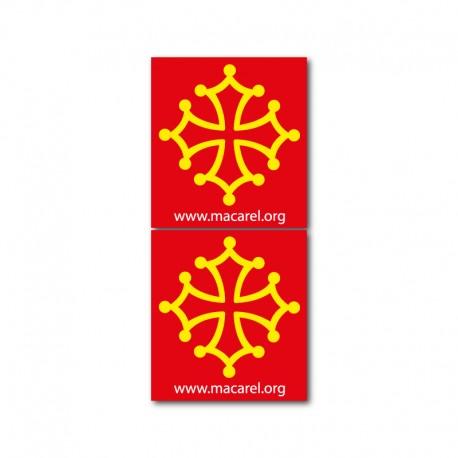 Autocollant Croix occitane pour plaque d'immatriculation (x2)