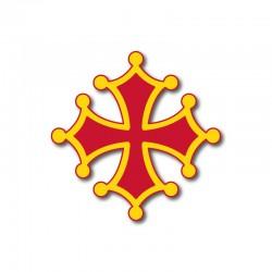 Autocollant Croix occitane sang et or 7 cm