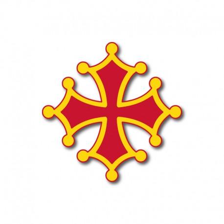 Autocollant Croix occitane sang et or 7 cm - occitanie