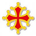 Autocollant Croix occitane sang et or 20 cm