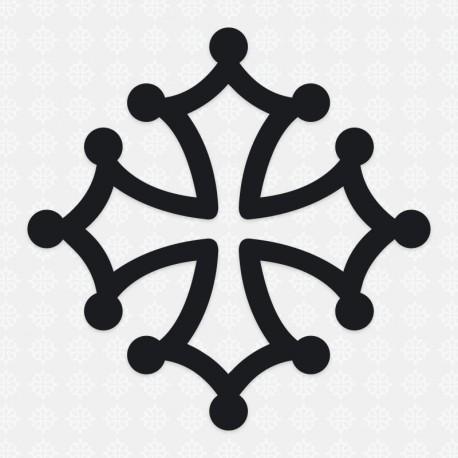 Sticker croix occitane 7 cm noir