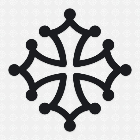 Sticker occitanie croix occitane 18 cm blanc