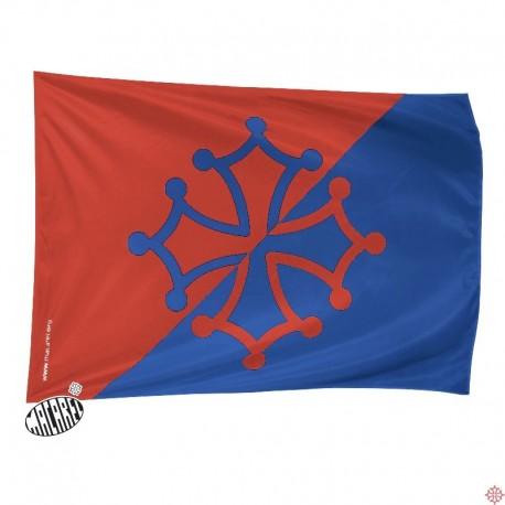 drapeau supporter rouge et bleu croix occitane logo occitanie