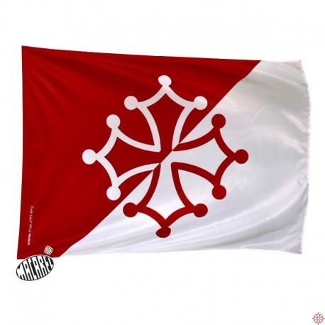 drapeau supporter rouge et blanc
