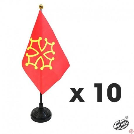 lot 10 drapeaux de table