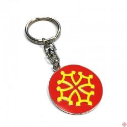Porte-clés métal rond Toulouse croix occitane