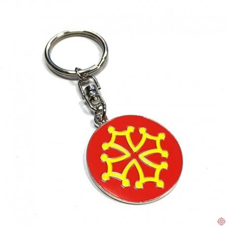 Porte-clefs métal rond Toulouse croix occitane