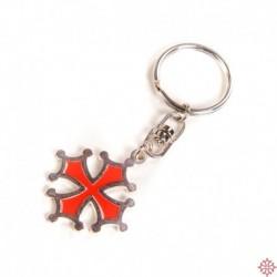 Porte-clefs croix occitane découpée argentée