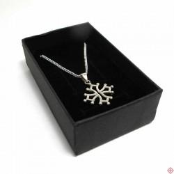 Parure chaîne 45 cm et pendentif croix occitane 2 cm en argent massif