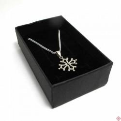 Parure chaîne 45 cm et pendentif croix occitane 1,5 cm en argent massif