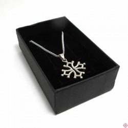 Parure chaîne 45 cm et pendentif croix occitane 2,5 cm en argent massif