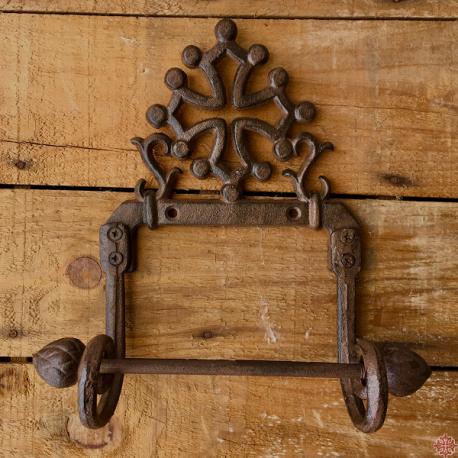 Dérouleur de papier toilette en fonte  décoré d'une croix occitane