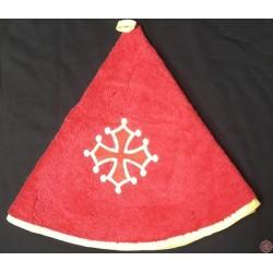 Essuie-mains rond éponge rouge croix occitane