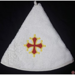 Essuie-mains rond éponge écrue croix occitane