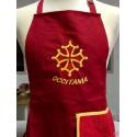 Tablier cuisine rouge croix occitane avec torchon éponge