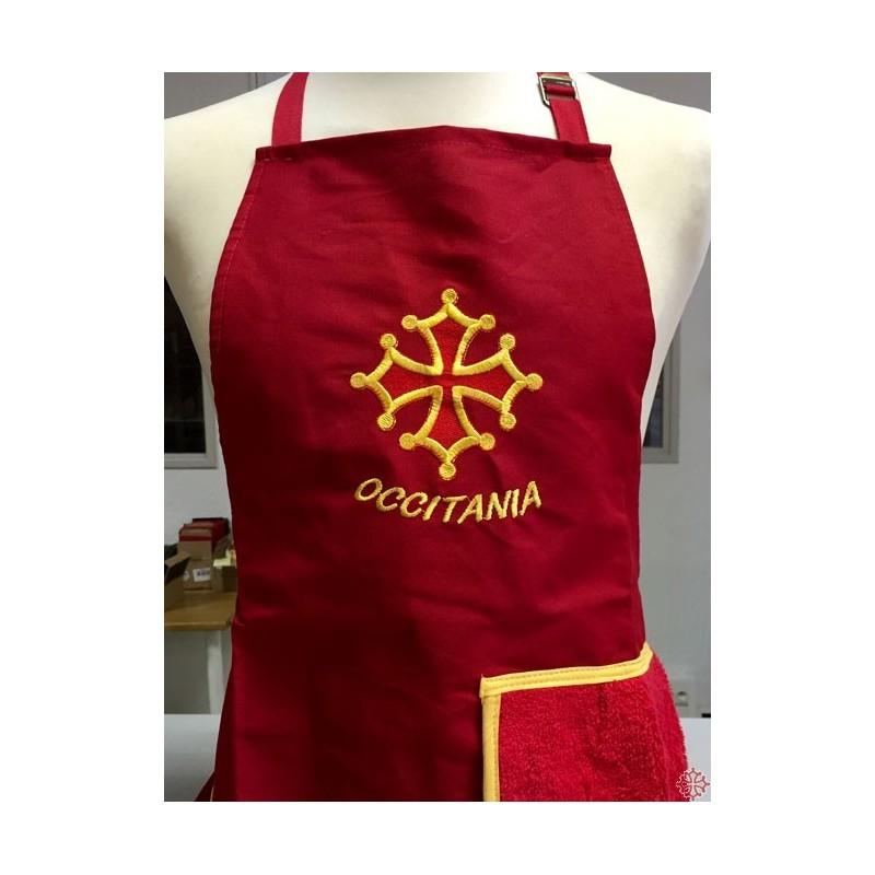Tablier Cuisine Rouge Croix Occitane Avec Torchon Eponge